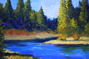 Mountain Bike Paintings - Oregon River Landscape by Nancy Merkle