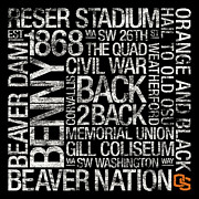 Beavers Art - Oregon State College Colors Subway Art by Replay Photos