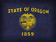 Universities Mixed Media Metal Prints - Oregon State Flag Art on Worn Canvas Metal Print by Design Turnpike
