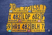 Road Trip Framed Prints - Oregon State License Plate Map Framed Print by Design Turnpike