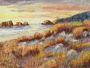 Sea Birds Pastels - Oregon Sunset by Bruce Schrader