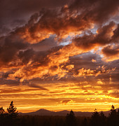 Mt. Bachelor Framed Prints - Oregon Sunset Framed Print by Christian Heeb