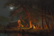 Full Moon Paintings - Oregon Trail by Albert Bierstadt