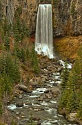 Deschutes Framed Prints - Oregon Tumalo Falls Portrait Framed Print by Adam Jewell