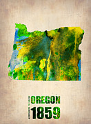 Us Map Prints - Oregon Watercolor Map Print by Irina  March
