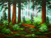Sun Rays Painting Prints - Oregon  Woods  Print by Shasta Eone