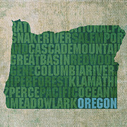 Oregon Framed Prints - Oregon Word Art State Map on Canvas Framed Print by Design Turnpike