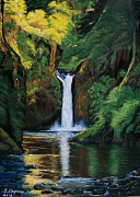 Waterfalls Paintings - Oregons Punchbowl Falls by Sharon Duguay