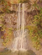 Oregon Pastels Prints - Oregons South Silverfalls Print by Barbara Smeaton