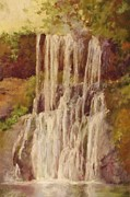 North Wall Pastels Posters - Oregons Upper North Falls Poster by Barbara Smeaton