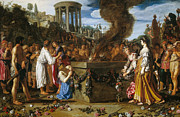 Famous Artists - Orestes and Pylades Disputing at the Altar by Pieter Lastman