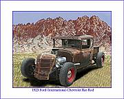 Rat Rod Painting Posters - Organ Mountains and 1929 Ford Rat-Rod Poster by Jack Pumphrey
