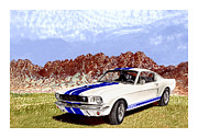 1965 Mustang Paintings - Organ Mountains and 1965 Mustang by Jack Pumphrey