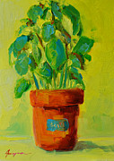 Interior Still Life Paintings - Organic Basil Plant Still Life by Patricia Awapara