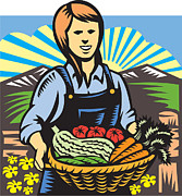 Farmer Digital Art - Organic Farmer Farm Produce Harvest Retro by Aloysius Patrimonio