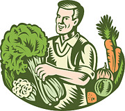 Harvest Posters - Organic Farmer Green Grocer With Vegetables Retro Poster by Aloysius Patrimonio