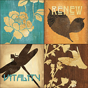 Bloom Mixed Media Posters - Organic Nature 4 Poster by Debbie DeWitt