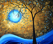 Gold Color Paintings - Orginal Abstract Landscape Painting BLUE FIRE by MADART by Megan Duncanson