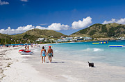 View Over Framed Prints - Orient Beach in St Martin FWI Framed Print by David Smith