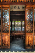 Glass Table Reflection Art - Orient - Door - The temple doors by Mike Savad