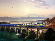 Train On Bridge Prints - Orient Express Print by Michael Rucker