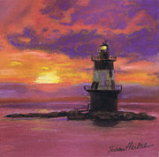 Long Island Paintings - Orient Point Lighthouse Sunset by Susan Herbst