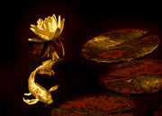 Koi Ponds Photos - Oriental Golden Koi Fish and Water Lily Flower by Jennie Marie Schell