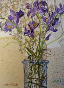 Handmade Paper Paintings - Oriental Iris by Elaine Elliott