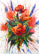Watercolorist Framed Prints - Oriental Poppy Chaos Framed Print by Karen Mattson