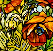 Stained Glass Art Glass Art Framed Prints - Oriental Poppy Framed Print by Tiffany Studios