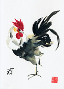 Chickens Paintings - Oriental Rooster by Sandy Linden