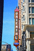 Chicago Photography Mixed Media Posters - Oriental Theater with Sponge Painting Effect Poster by Frank Romeo