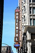 Usa Prints Mixed Media - Oriental Theater with Watercolor Effect by Frank Romeo