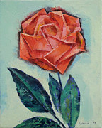 Impasto Oil Paintings - Origami Rose by Michael Creese