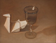Raw Umber Art - Origami swan in burnt umber by Jennifer Richards