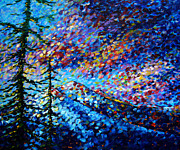 Bold Tapestries Textiles Prints - Original Abstract Impressionist Landscape Contemporary Art by MADART Mountain Glory Print by Megan Duncanson