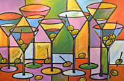 Food And Drink Originals - Original Abstract Martini Bar Restaurant Decor... Martini and Olives by Amy Giacomelli