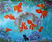 Oil On Canvas Posters - Original abstract oil Painting palette knife on canvas 9 Gold Fishes Painting from Russia  Poster by Natalya Zhdanova