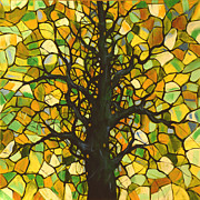 Modern Landscape Paintings - Original Abstract Tree Landscape Painting ... Stained Glass Tree #3 by Amy Giacomelli