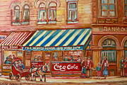 Coca-cola Sign Paintings - Original Bank Notre Dame Street by Carole Spandau