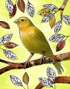 Canary Yellow Mixed Media Prints - Original Bird Art Print Painting ... Songs of Canaries Print by Amy Giacomelli