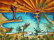Surfing Art Painting Originals - Original Coastal Surfing Whimsical Fun Painting TROPICAL SERENITY by MADART by Megan Duncanson