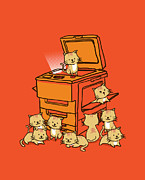 Cute Cat Prints - Original copycat Print by Budi Satria Kwan