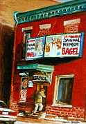 Store Fronts Prints - Original Fairmount Bagel Bakery With Vintage Sign Classic Montreal Memories Painting City Scene Print by Carole Spandau
