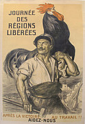 Wwi Drawings Originals - Original Fench WWI Poster Journee des Regions Liberee by Auguste Leroux