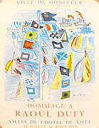 Sailboats Drawings - Original French Exhibition Poster Hommage a Raoul Dufy by Raoul Dufy