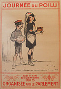 Wwi Drawings Originals - Original French War Poster Journee du Poilu by Poulbot