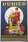 Industrial Drawings Originals - Original Italian 1950s Knitting Machine Poster - Dubied by Unknown