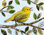 Canary Yellow Mixed Media Prints - Original Music Bird Art Print Painting ... The Finchs Song Print by Amy Giacomelli