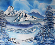 Oil On Canvas Acrylic Prints - Original oil painting   on canvas Winter Day in  the Mountains mixed equipment a palette knife Acrylic Print by Natalya Zhdanova